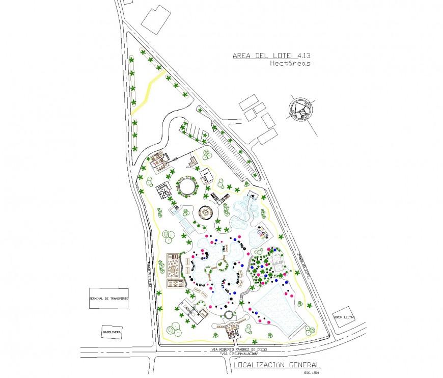 Urban park plan autocad file