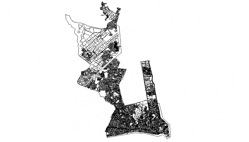Urban plan of city growth in dwg file.