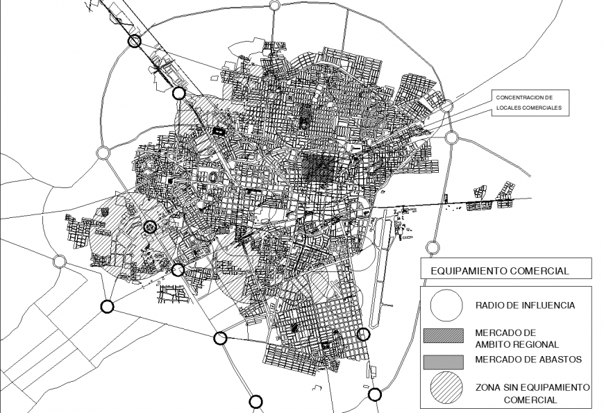 Urban planning map in dwg AutoCAD file.