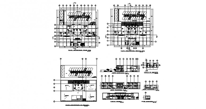 Urban restaurant elevation, section, floor plan and auto-cad drawing details dwg file