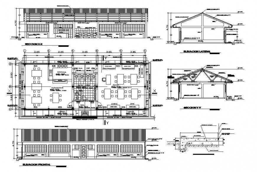 Urban restaurant elevation, section and plan cad drawing details dwg file