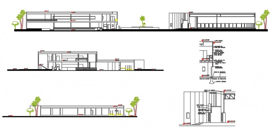 Urban restaurant elevation, section and structure drawing details dwg file