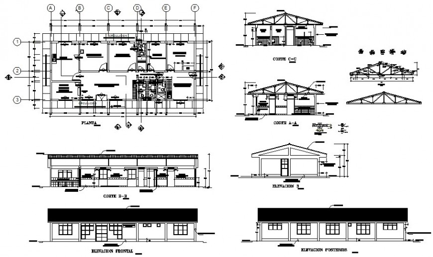 Urban school building detailed architecture project dwg file