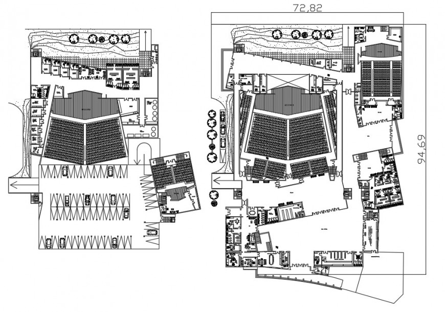 Urban theater two floor distribution plan cad drawing details dwg file