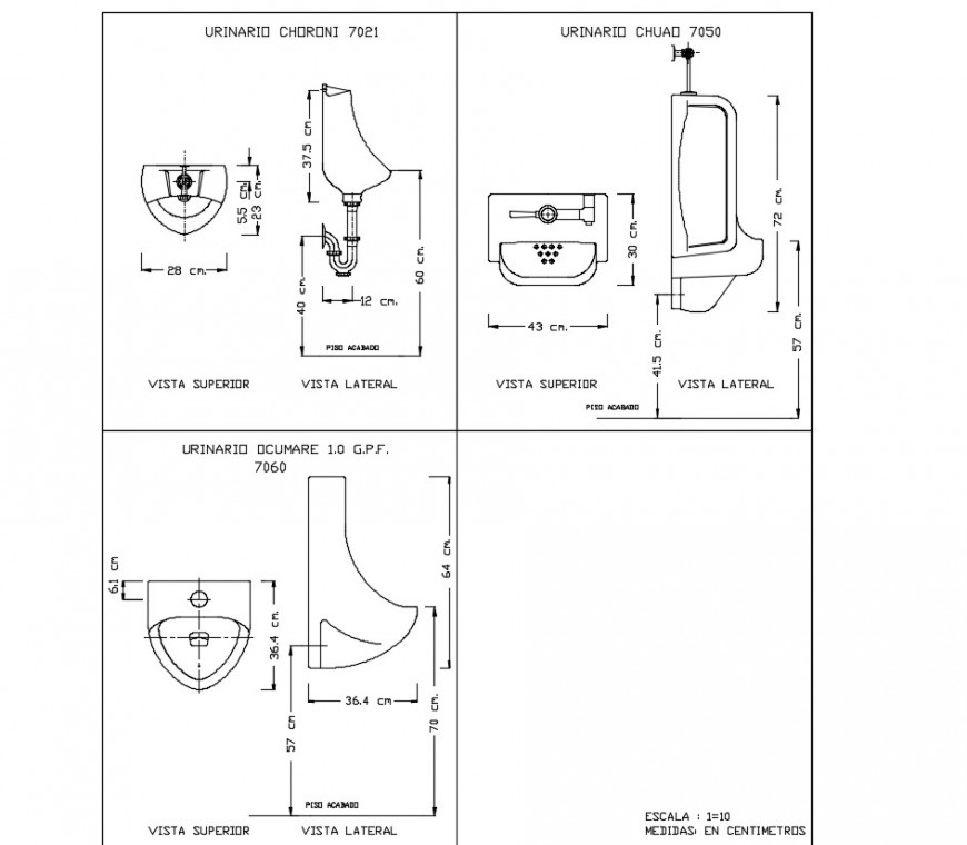 Urinal sanitary plan and section autocad file