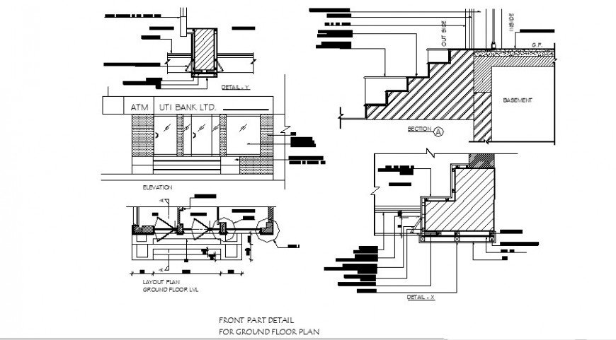 UTI bank constructive section, staircase, layout plan and structure details dwg file