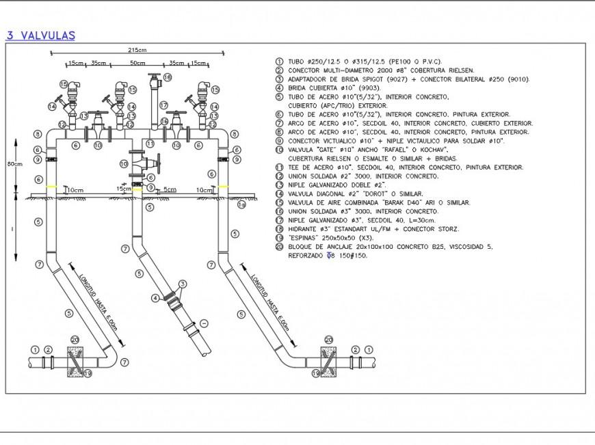 Valve pipe line plan layout file
