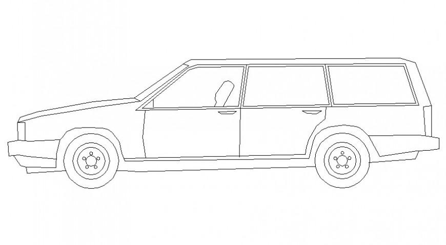 Van car side elevation in AutoCAD file