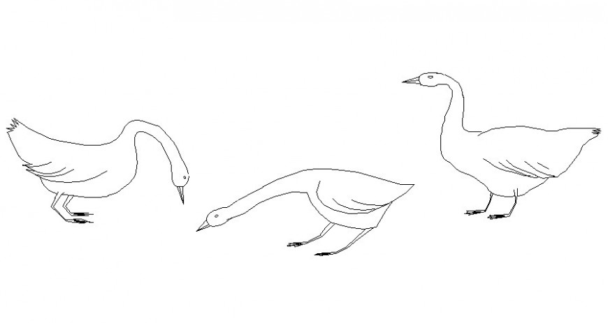 Various birds blocks drawings 2d view elevation autocad software file