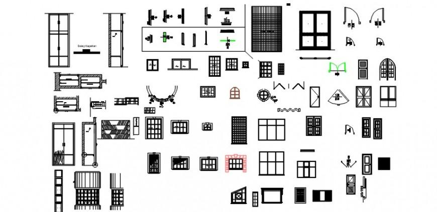 Various door window blocks units autocad software file