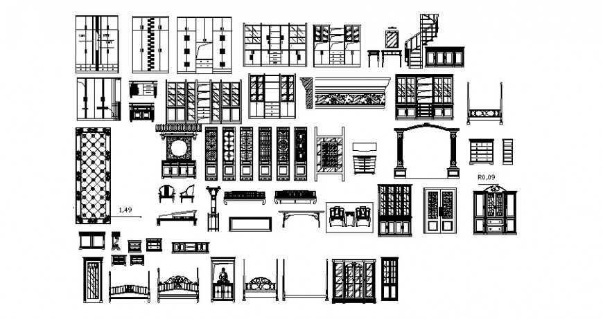 Various furniture and other door block drawing in autocad