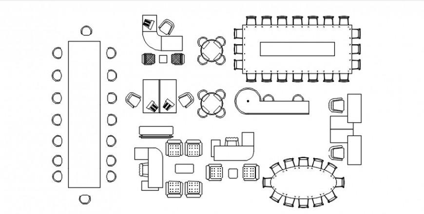 Various furniture blocks detailing drawing 2d view elevation dwg file