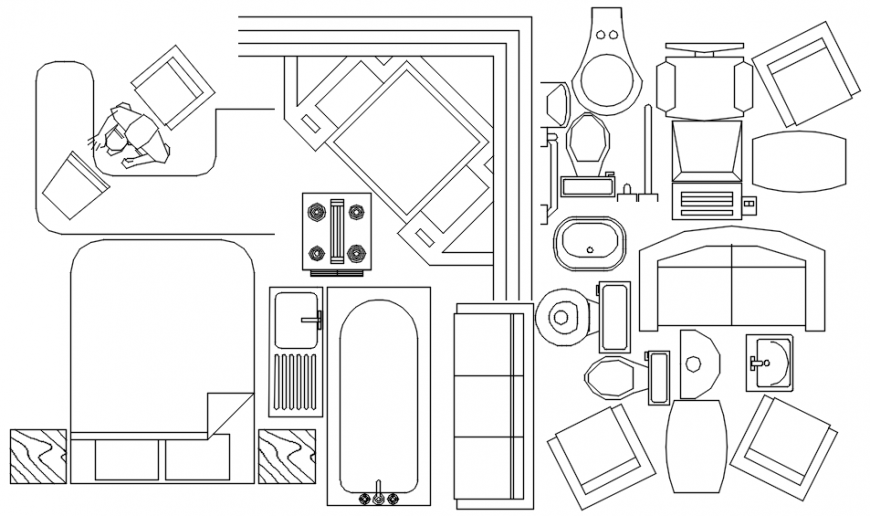 Various furniture blocks details and household cad icon details in autocad file