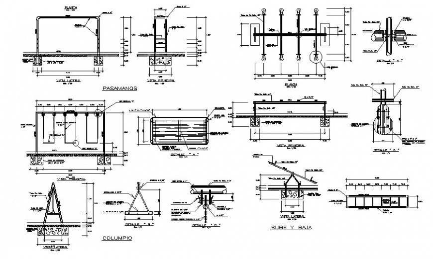 Various garden playing automation units drawings autocad file