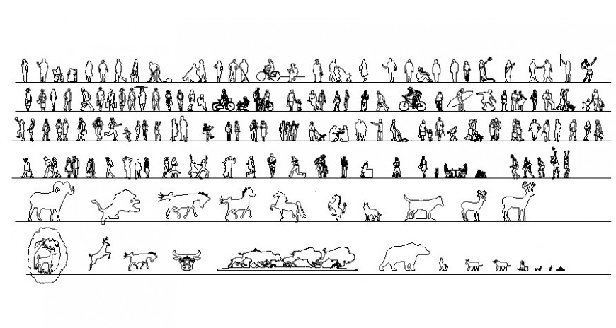 Various people and animal blocks drawings dwg file