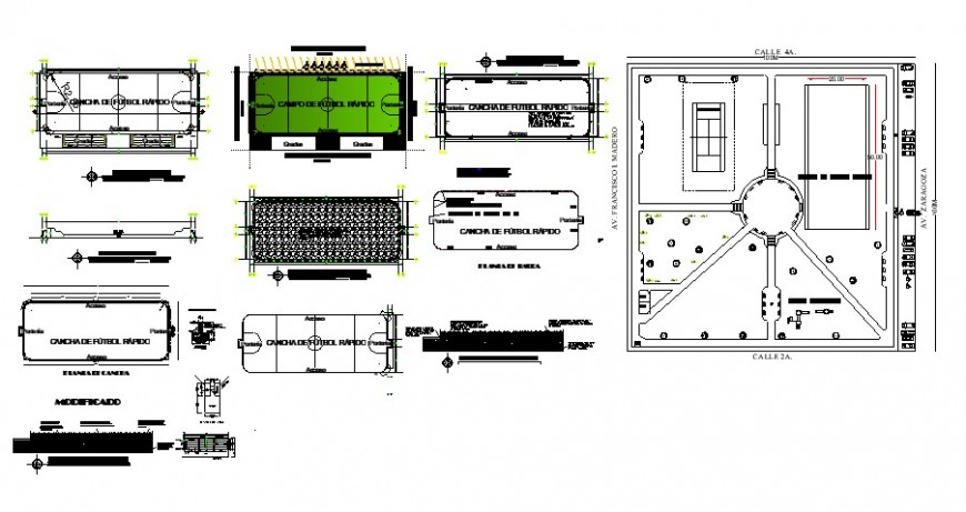 Various playgrounds detail 2d view layout plan in autocad format