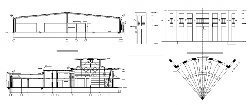 Various sectional detail with elevation of a building dwg file