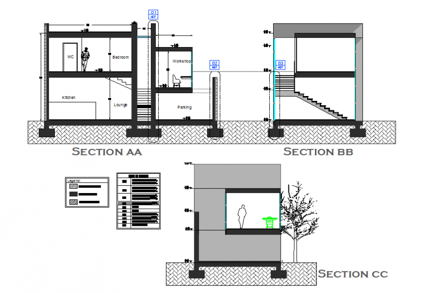 Various sections of building dwg file