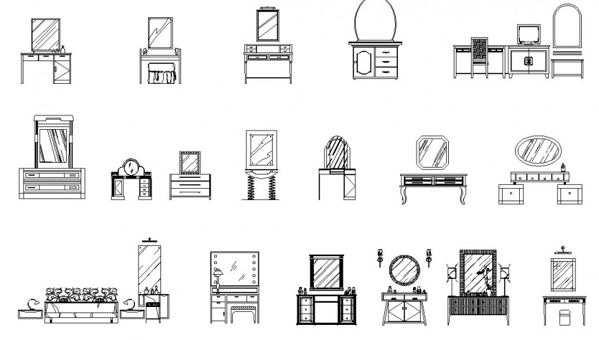 Various types and model of dressing unit dwg file