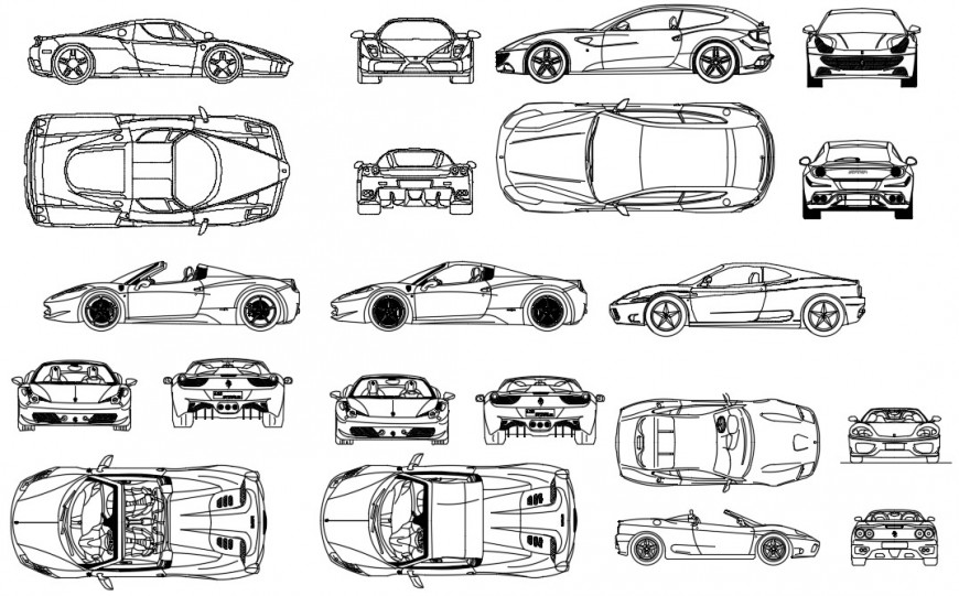 Various types of car 2d view drawings of CAD vehicle blocks dwg file