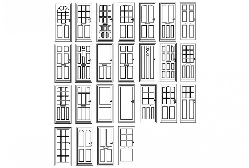 Various types of door detailing dwg file