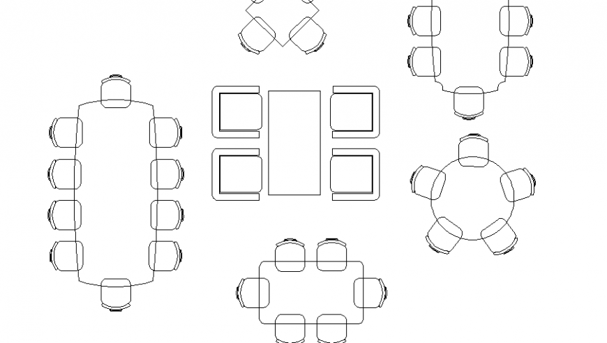Various wooden dining table top view elevation blocks cad drawing details dwg file