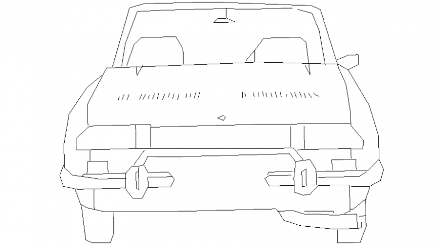 Vehicle blocks drawings of car elevation autocad software file
