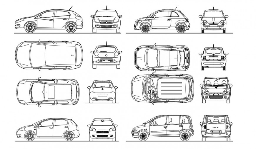 Vehicle library blocks of car 2d view dwg file