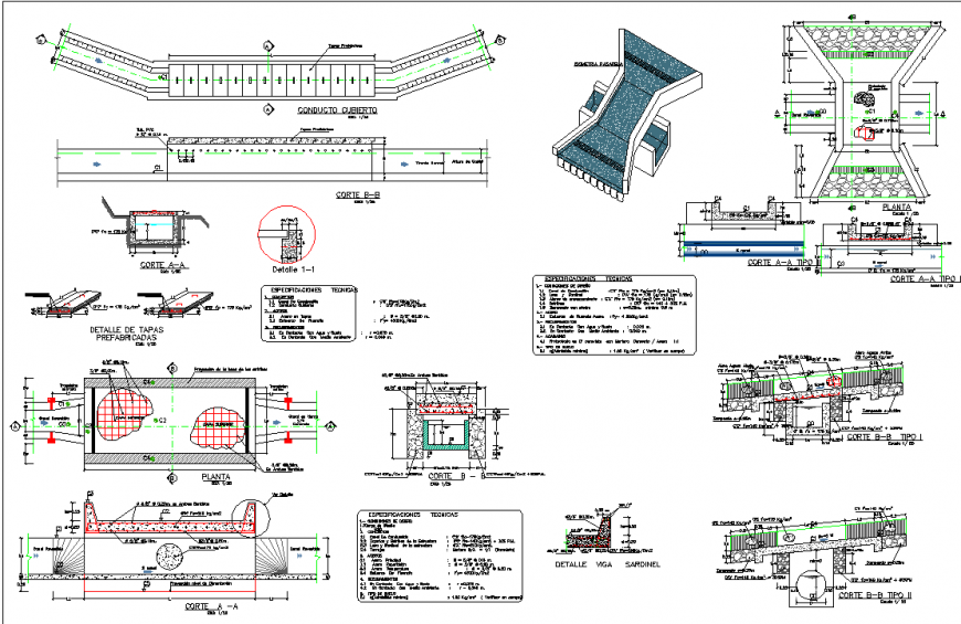 Vehicle passcanoe plan and section detail dwg file