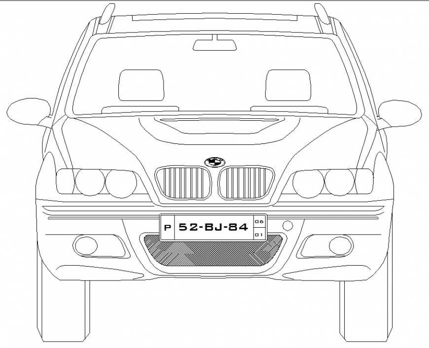 Vehicles car plan with detail dwg file.
