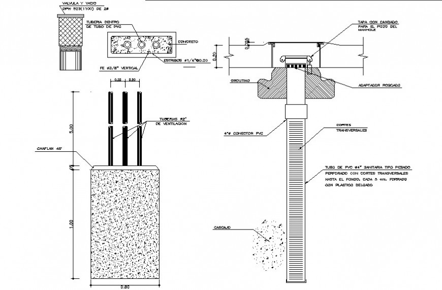 ventilation pipe pedestal cad drawing