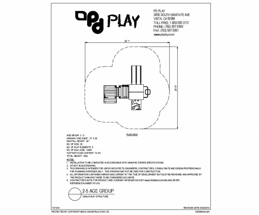 Venus play equipment structure for garden cad drawing dwg file
