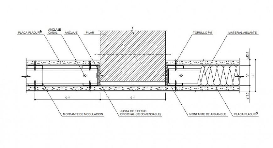 Vertical door frame section cad drawing details dwg file