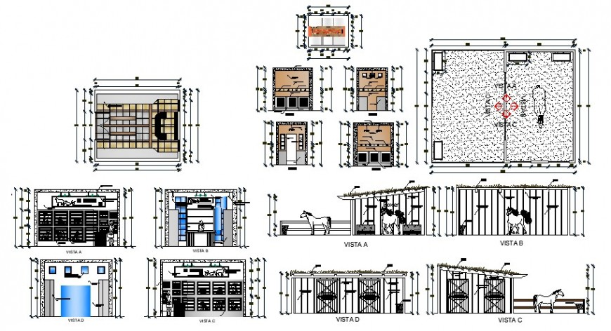 Veterinary clinic hospital elevation, section and cad drawing details dwg file