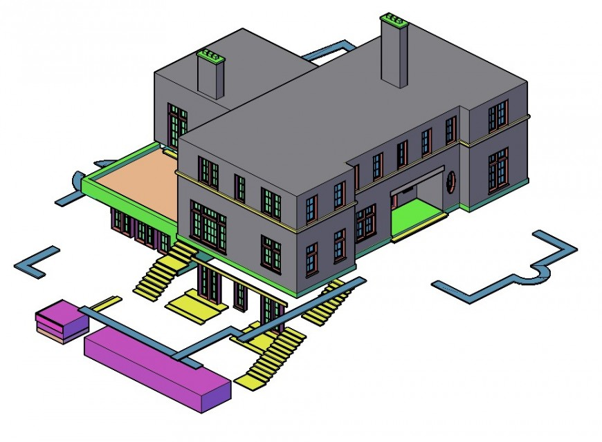 Vidal two story house 3d model cad drawing details dwg file