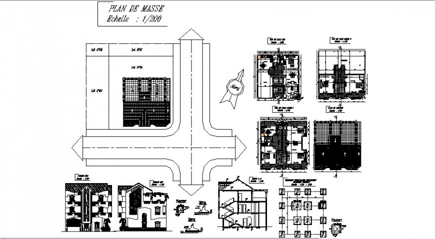 Villa building elevation, foundation plan, floor plan and auto-cad drawing details dwg file