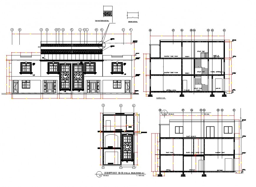 Villa building elevation and section autocad file