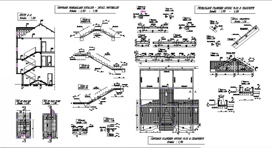 Villa constructive section, staircase section and construction, roof and auto-cad details dwg file