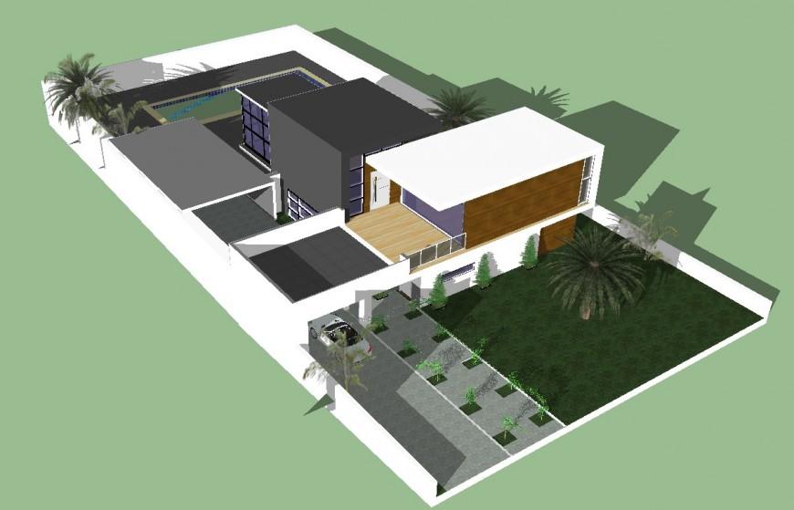 Villa design detail 3d drawing in skp file.