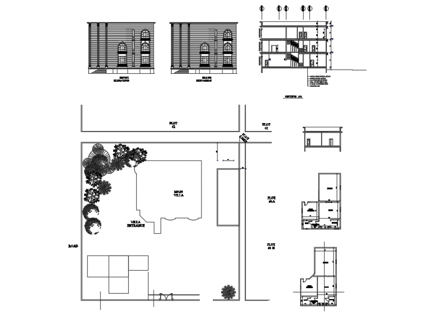 Villa elevation, section, site plan and auto-cad details dwg file