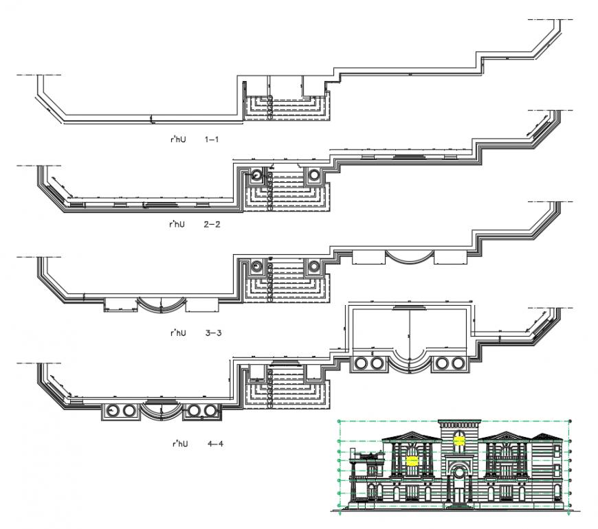 Villa elevation design dwg file