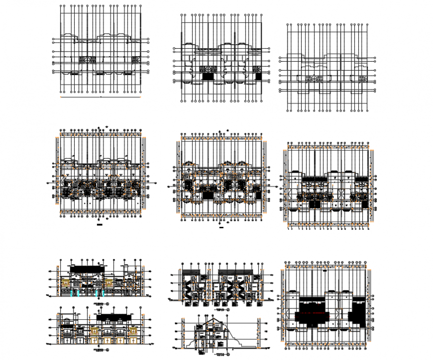 Villa first stage section plan dwg file