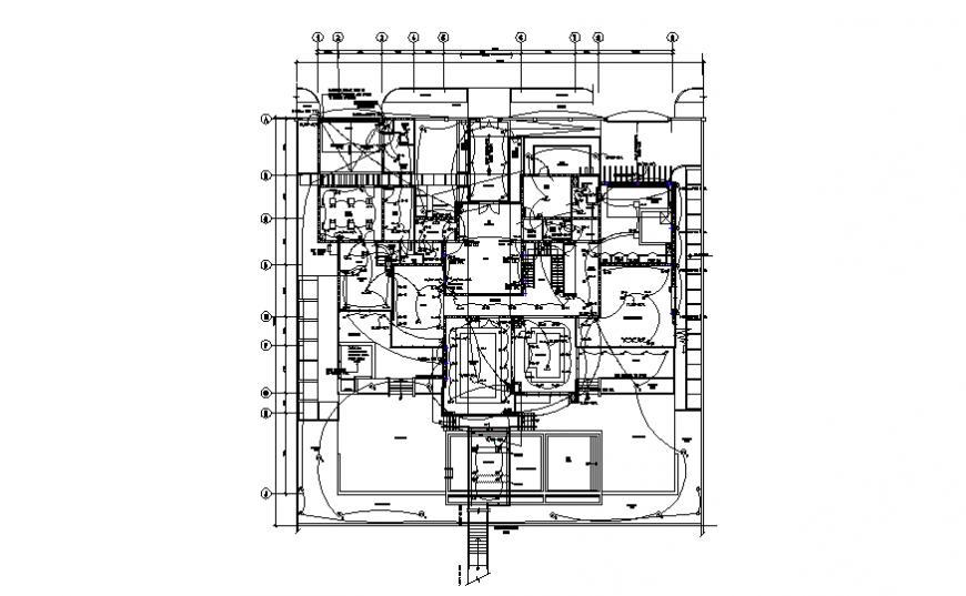Villa ground floor lighting layout detail dwg file
