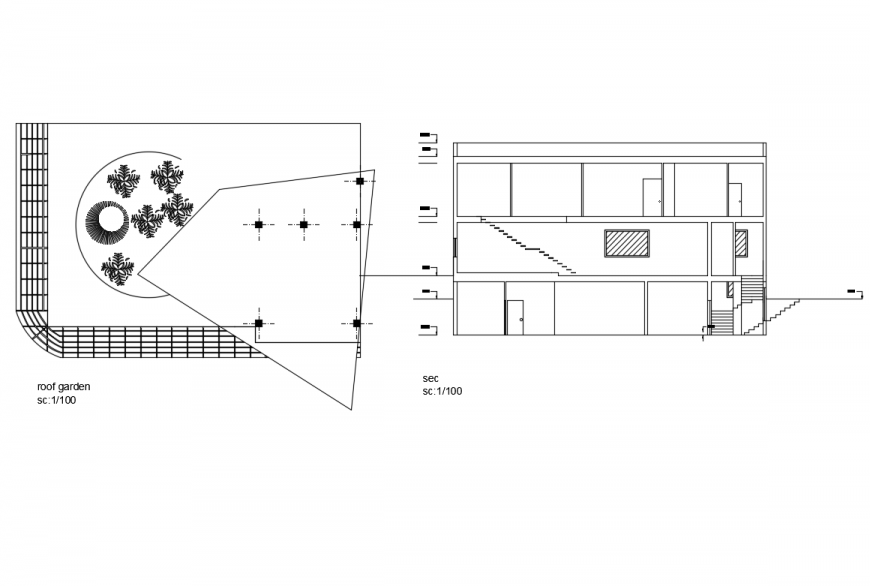 Villa house roof garden plan and front section details dwg file