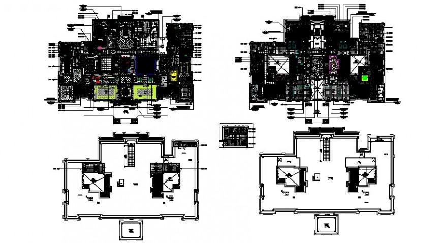 Villa main floor plan in auto cad file