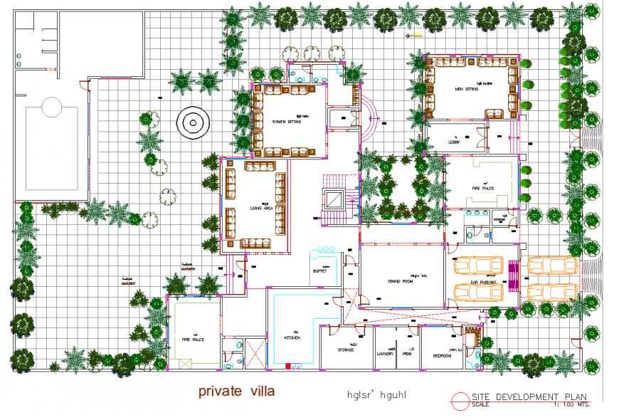 Villa plan detail dwg file.