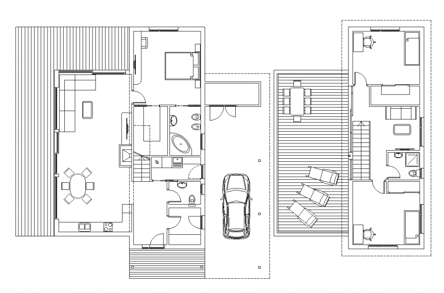 Villa plan with architecture part dwg file