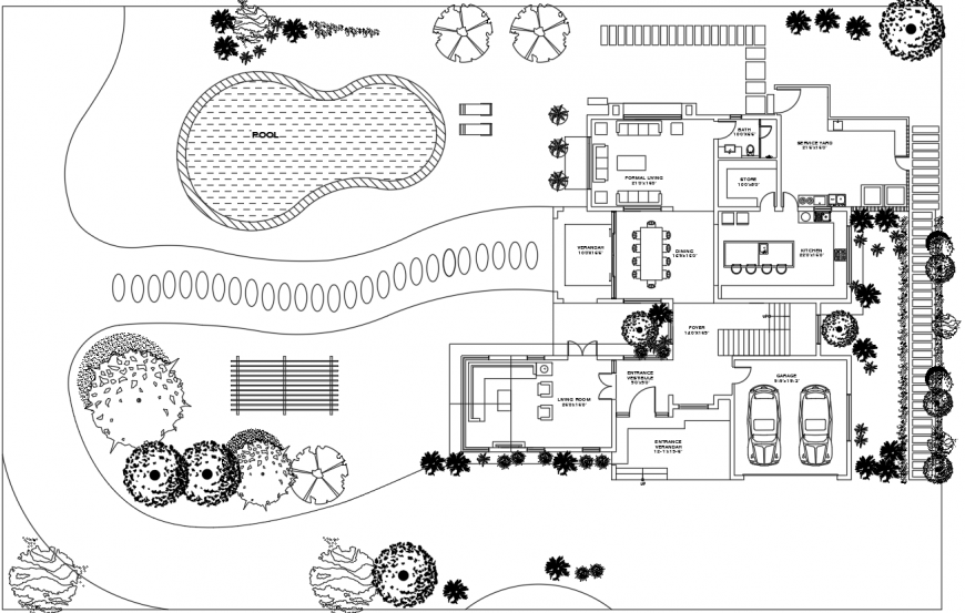 Villa project sample house layout plan in dwg AutoCAD file.