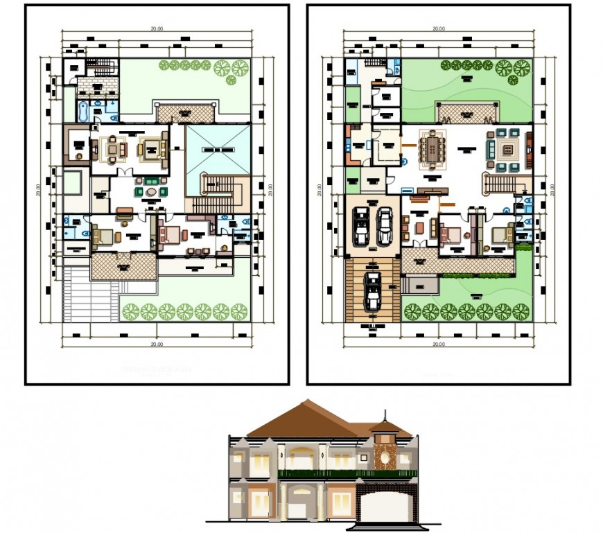 villa residence project detail autocad software file