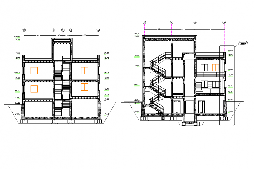 Villa section plan layout file